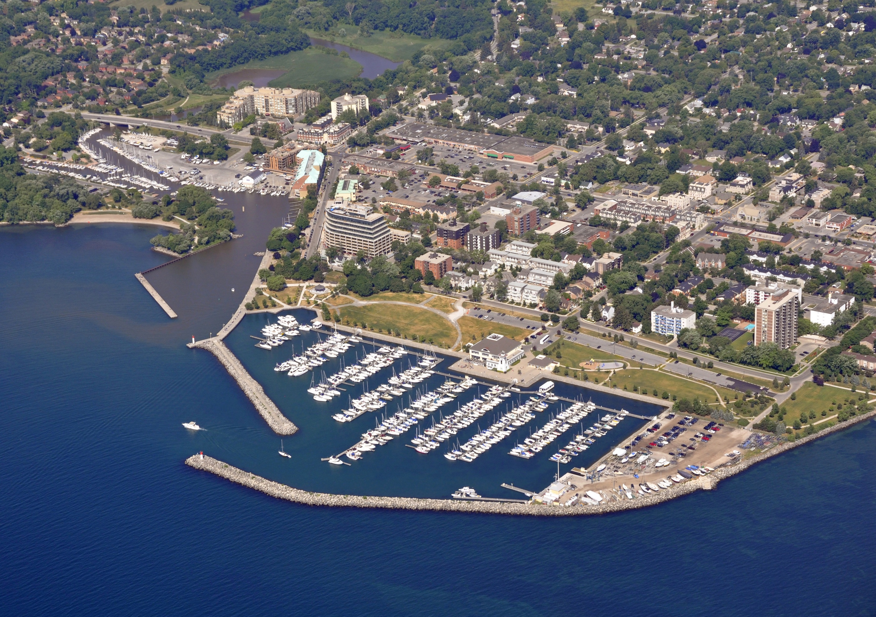 Aerial View Of Oakville Bronte Marina During Summer